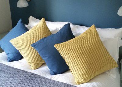 Feathered Nest Soft Furnishings Dorset Cushions Blue Yellow