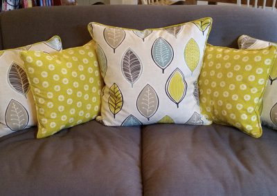 Feathered Nest Soft Furnishings Dorset Cushions Yellow Green