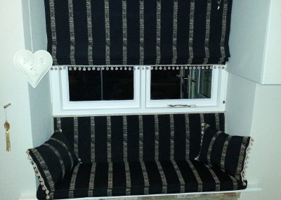Feathered Nest Soft Furnishings Dorset Roman Blinds Bench Seat Black Stripe