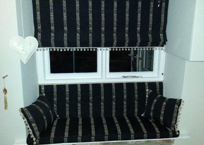 Feathered Nest Soft Furnishings Dorset Roman Blinds Bench Seat Black Stripe