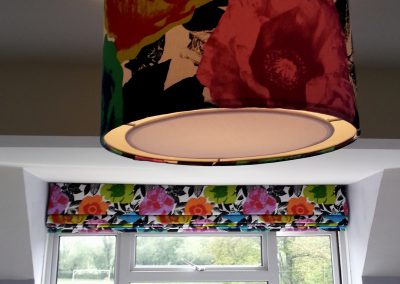 Feathered Nest Soft Furnishings Dorset Roman Blinds Lamp Shade Bright Flowers